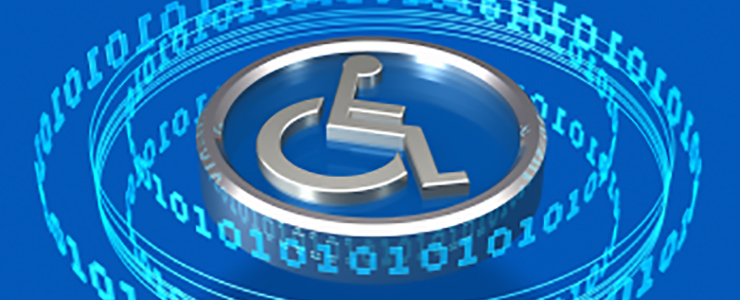 binary code with disability symbol of a wheelchair