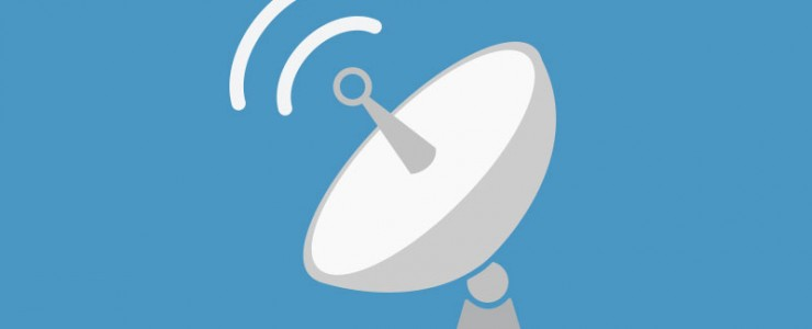 graphic of a satellite dish to indicate an announcement