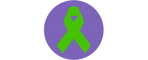 green mental health ribbon inside purple circle