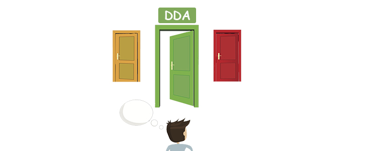 illustraion of a man staring at three doors, middle door says DDA