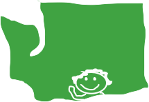 map of Washington State with a sitck figure waving