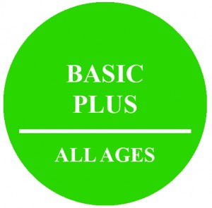 Circle with text that reads Basic Plus All Ages