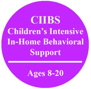 Circle with text that reads Children's Intensive In-Home Behavioral Support Ages 8-20
