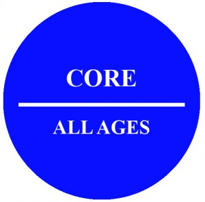 Circle with text that reads CORE All Ages