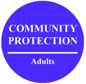 Circle with text that reads Community Protection Adults