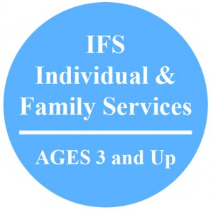 light blue circle with words IFS Individual and Family Services Ages 3 and Up