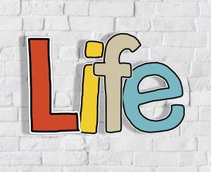 Multicolored text with the word Life set against a brick wall