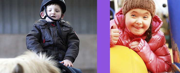 boy with disabilities on horseback, girl with Down syndrom on playground, smiling