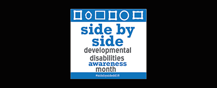 infographic for Developmental Disabilities Awareness Month with hashtag sidebyside16