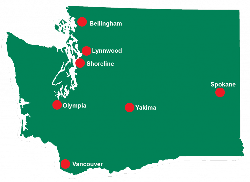 Map of Washington with red locator pins for each of the seven planned respite locations.
