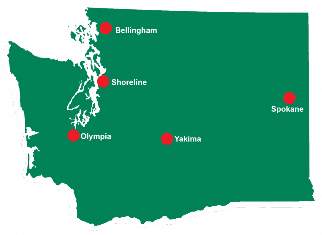 Washington State map with red markers indicating respite locations in Bellingham, Olympia, Shoreline, Spokane and Yakima