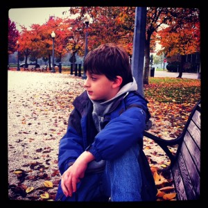 Boy on a bench, fall trees