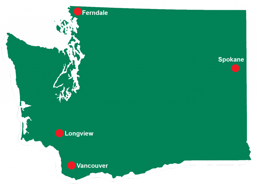 Green map of washington state with red dots indicating program locations in Ferndale, Spokane, Longview and Vancouver.