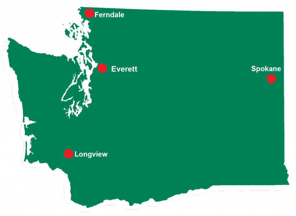 Map of Washington State with red locator pins for each of the four enhanced respite locations. Everett, Ferndale, Longview, Spokane.