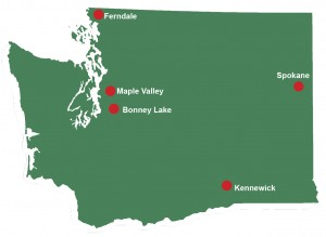 map of Washington State with location markers for Ferndale, Maple Valley, Bonney Lake, Kennewick, Spokane