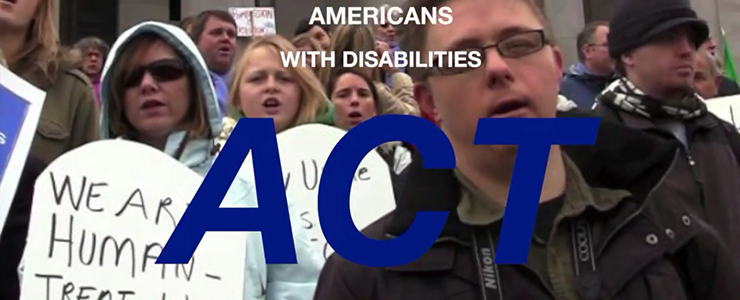 disability rally with text that reads Americans with Disabilities Act