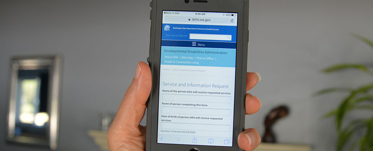 smartphone with DDA's online Service and Information Request form