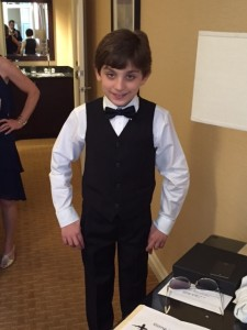 Young boy in wedding tux