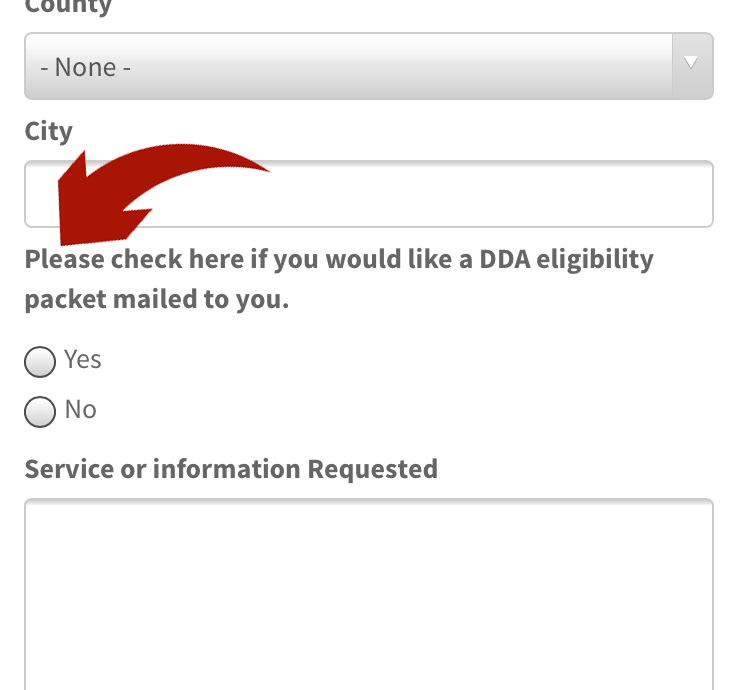 DDA online service request and information form with red arrow pointing to the option to request eligibility packet