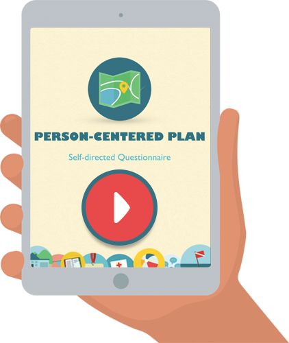 hand held device with graphic with text: Person Centered Plan