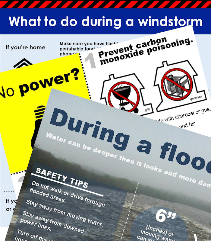 cropped and layered emergency fact sheets for flood, power outage and windstorm