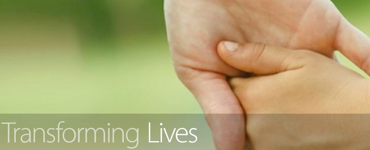 DDA website image, holding hands, text reads Transforming Lives