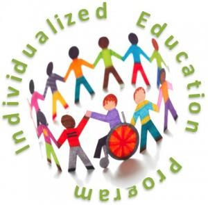 Illustration of multi colored paper chiildren. Text reads: Individualized Education Program
