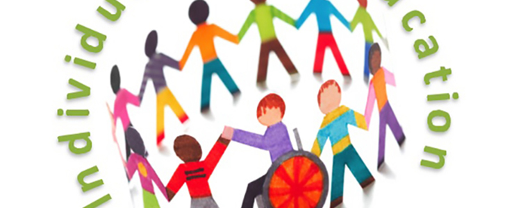 multi colored paper children cutouts, including one who uses a wheelchair.