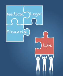 Medical, Legal, Financial, Life puzzle pieces held up by three stick people.