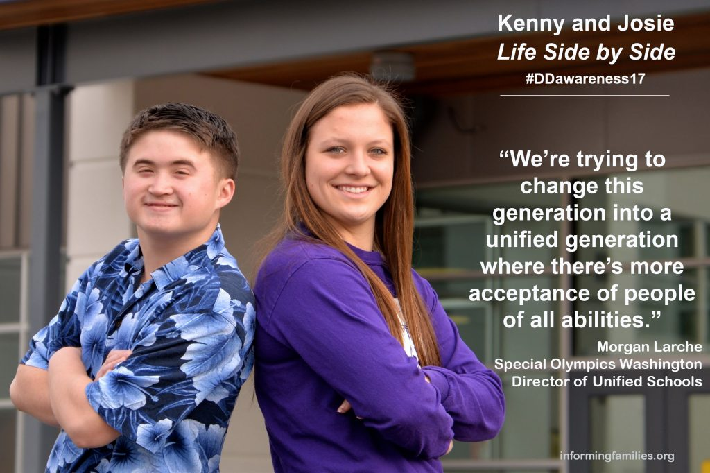two high school students standing side by side, with quote from Special Olympics Washington Unified Schools Director Morgan Larche