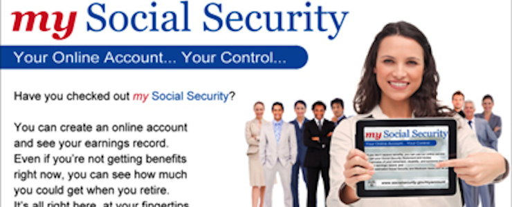 my Social Security Your Online Account Your Control, woman holding mobile device with my Social Security website displayed