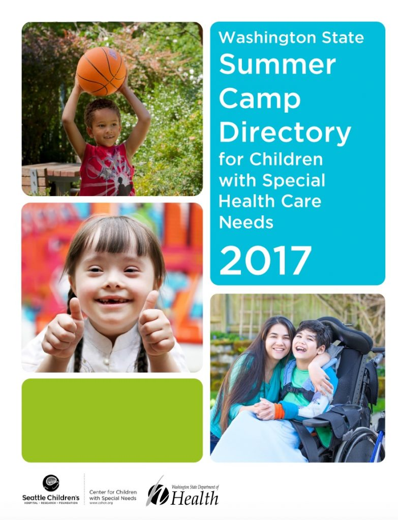 Cover page of Washington State Summer Camp Directory for Children with Special Health Care needs. Photos of children at play.