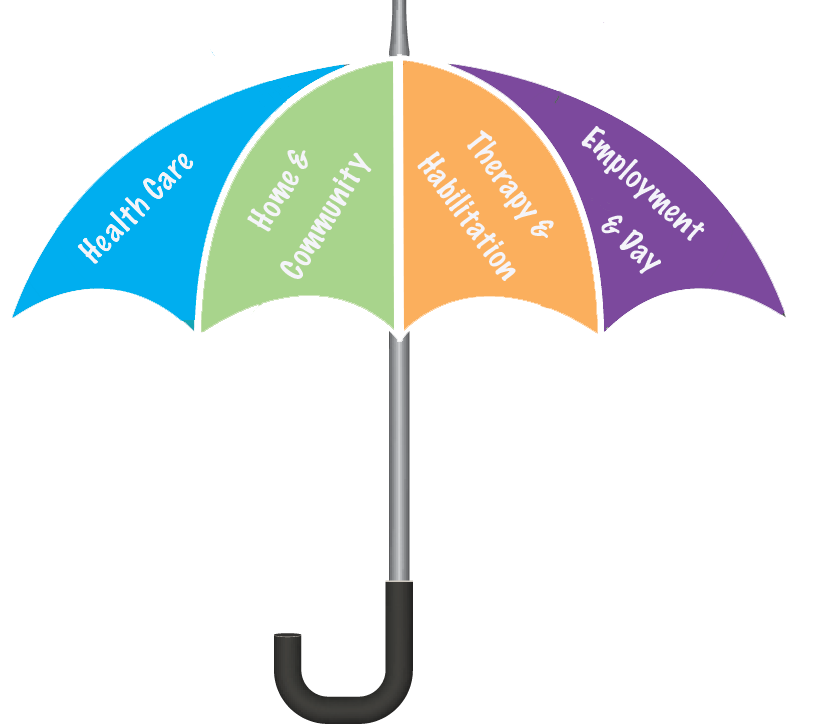 mulit colored umbrella with text that reads health care, home and community, therapy and habilitation, employment and day