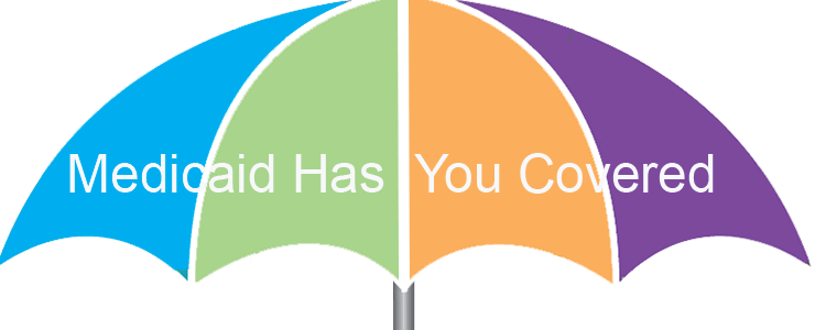 multi colored umbrella with text: Medicaid has you covered