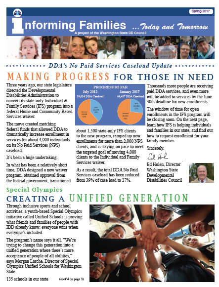 Image of the newsletter cover with Informing Families banner and headlines that read Making Progress for those in Need and Creating a Unified Generation.