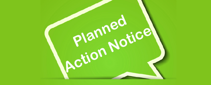 lime green quote box with text that reads Planned Action Notice