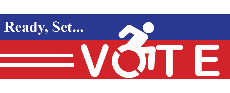 Ready Set Vote, with accessibility icon as the O in Vote