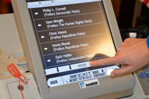 automark voting machine depicting a ballot from the 2016 election