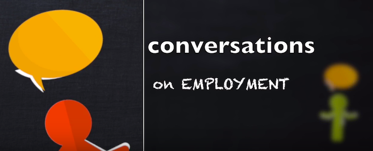 two stick figures with speech bubbles, title text reads conversations on employment.