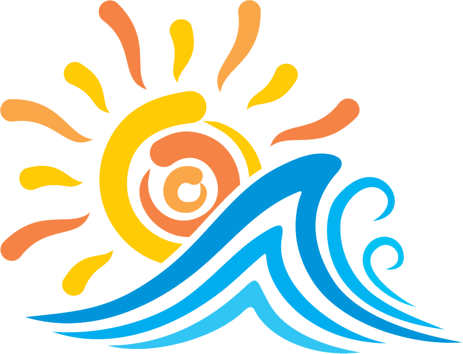 graphic of the sun and waves