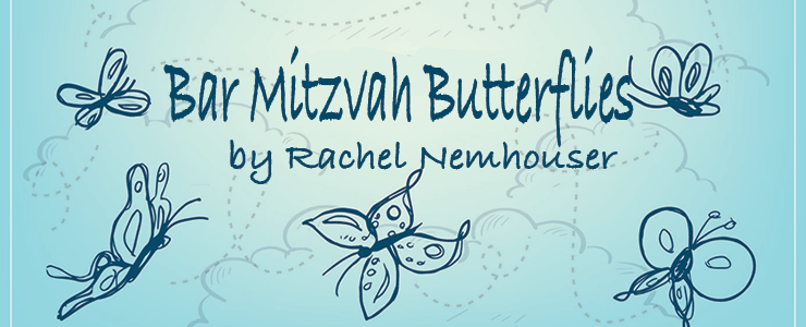 Bar Mitzvah Butterflies by Rachel Nemhauser. Background graphics: light blue with handrawn butterflies