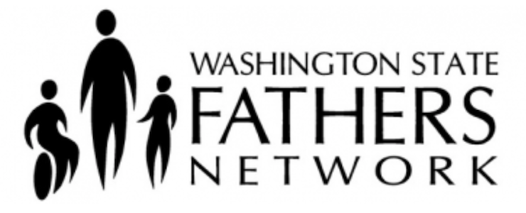 Washington State Father's Network logo. Black cut out figures of an adult and two children, one using a wheelchair