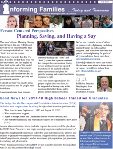 front page of Informing Families fall newsletter