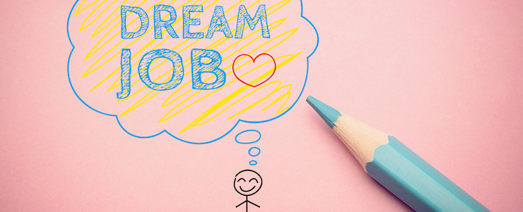 "stick figure drawing on the paper, with thought bubble that says ""Dream Job"", blue pencil aside."