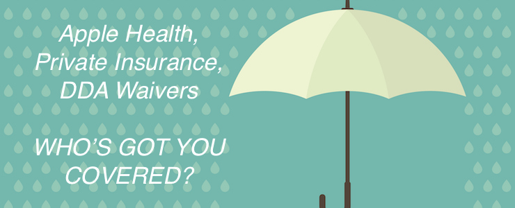 Abstract background with umbrella and rain. protection and safety concept. falling drop. Text reads: Apple Health, Private Insurance, DDA Waivers. Who's got you covered?