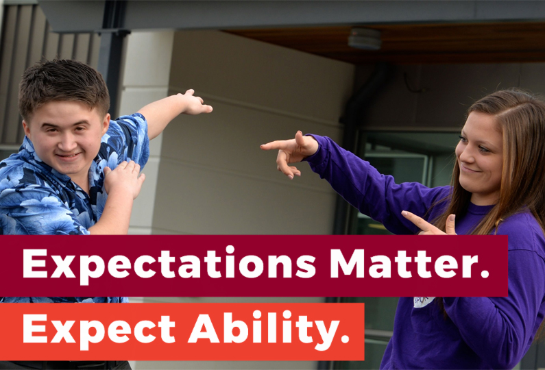 Two high school students joking around. Text reads: Expectations Matter. Expect Ability.