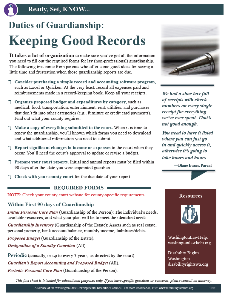 Guardianship Duties: Keeping Good Records | Informing Families