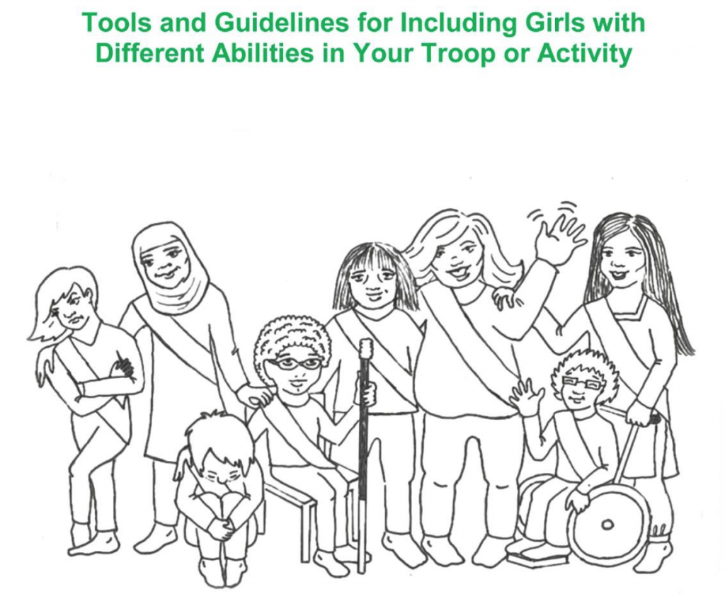Black and white drawing of girls of different shapes and sizes, including a girl in a wheelchair, and one with a cane
