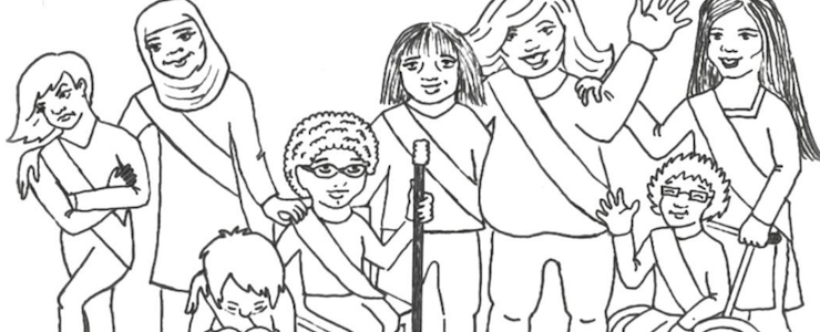 Black and white drawing of girls of diverse ethnicities, sizes and abilities. Text above the illustration reads: Tools and Guidelines for Including Girls with Different Abilities in Your Troop or Activity