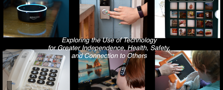 thumbnail images of techology with text that reads: Exploring the use of technology for greater independence, health, safety, and connection to others.